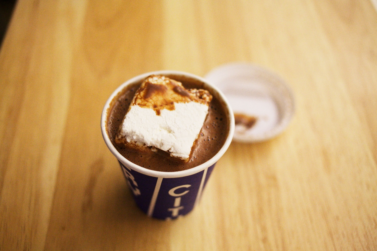 famous city bakery hot chocolate | with a giant fresh-made marshmallow