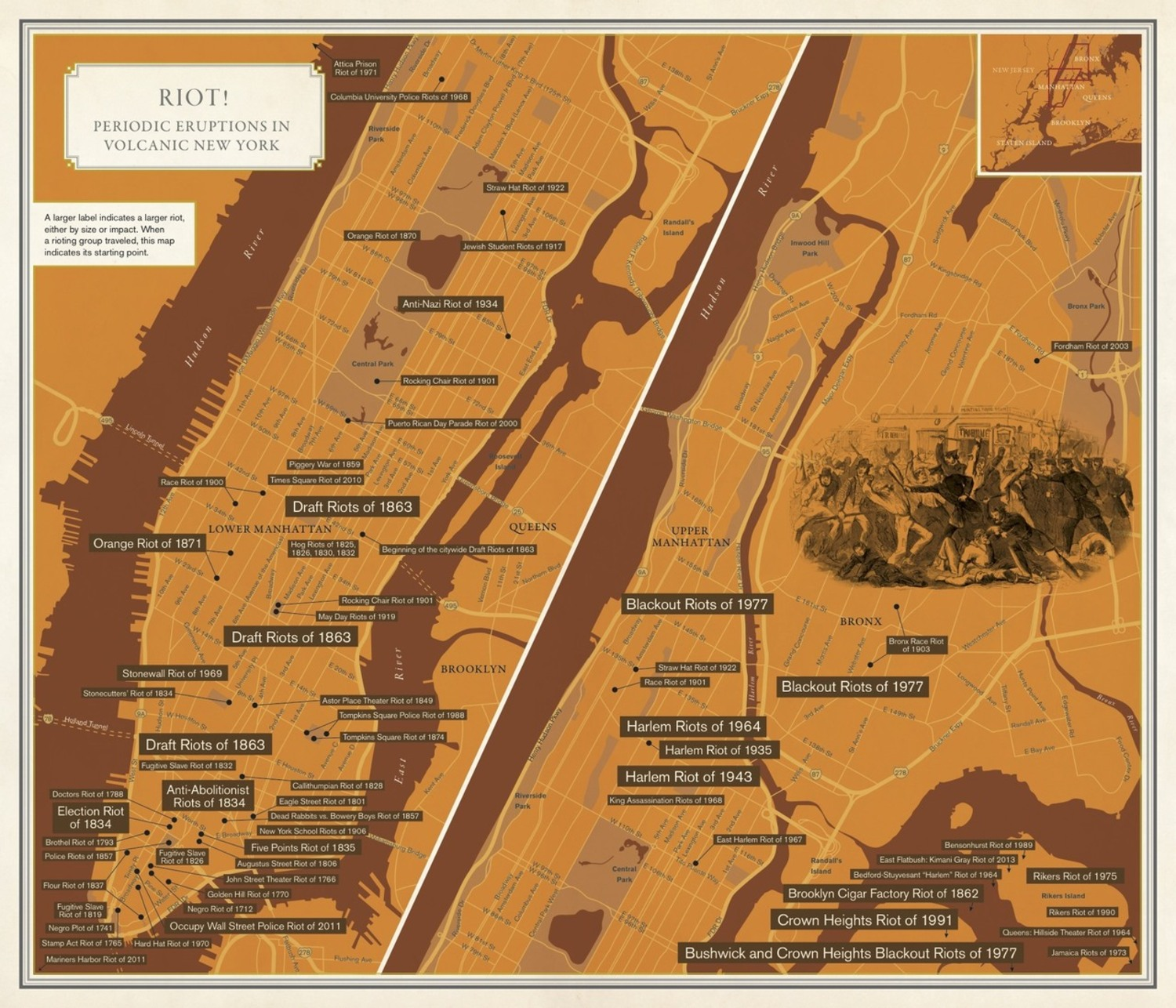 Solnits Subway Map Video.This Map Shows Locations Of All Of New York City S Major Riots Since