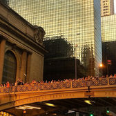 #Manhattanhenge shutterbugs take over the taxi overpass.