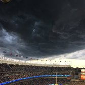 Storm clouds over Yankee Stadium tonight