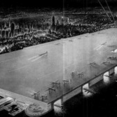 "New York City's Dream Airport | A spread from the March 18, 1946 issue of Life Magazine for a ""$3 billion project [that] would place a landing deck in midtown Manhattan,"" proposed by William Zeckendorf.  This is two images stitched together crudely. Originals found at <a href=""http://longstreet.typepad.com/thesciencebookstore/2010/02/rootop-airport-east-river-nyc.html"" rel=""nofollow"">Ptak Science Books</a>."