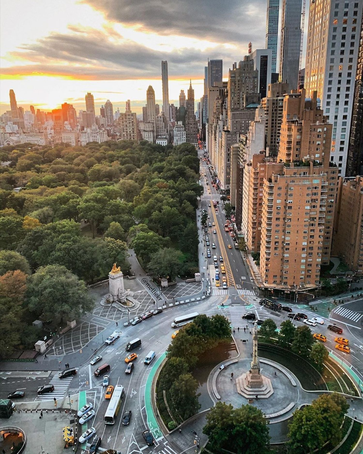 Sunrise over Columbus Circle and Central Park, Manhattan