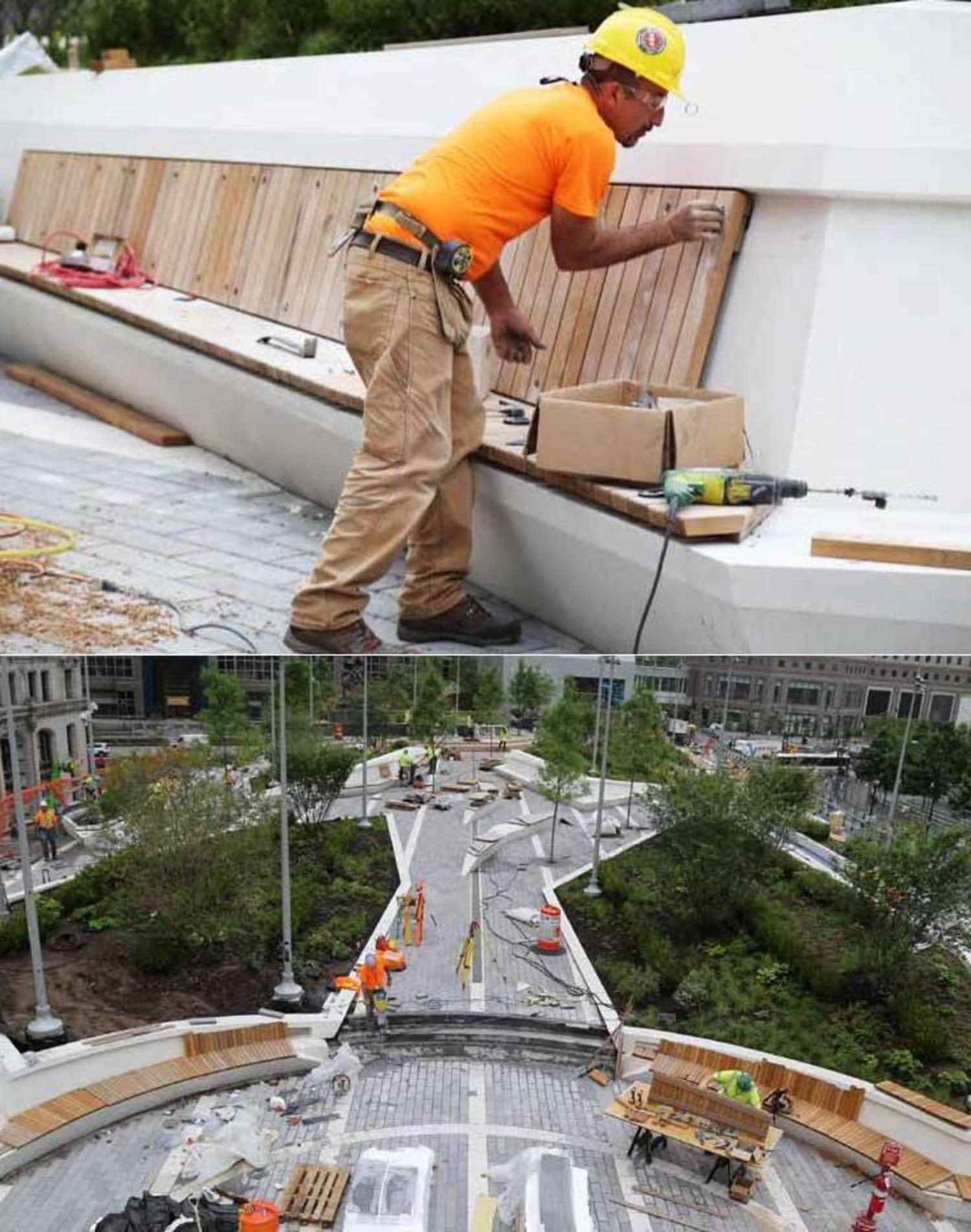 WTC Liberty Park Workers Continue to Install Slats and Planters