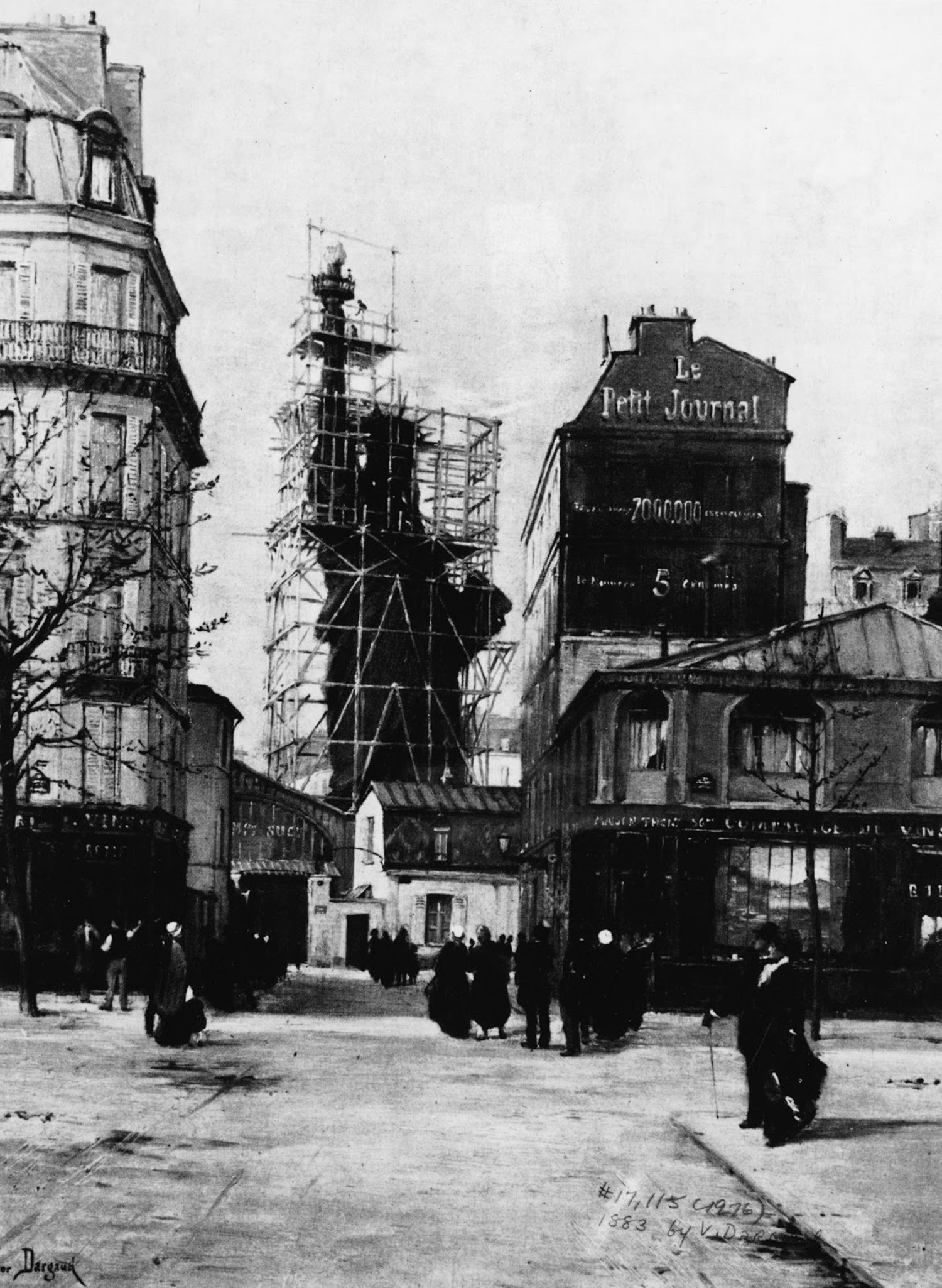 The Statue of Liberty enclosed by scaffolding, while under construction, seen from the Rue de Chazelles, in Paris circa 1884.