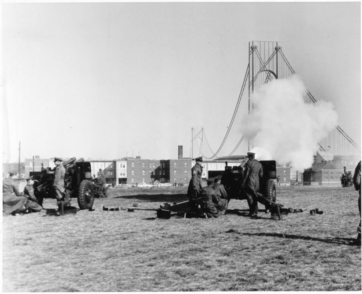Bridge ceremony with cannons firing at Fort Wadsworth. Photo circa 1964.