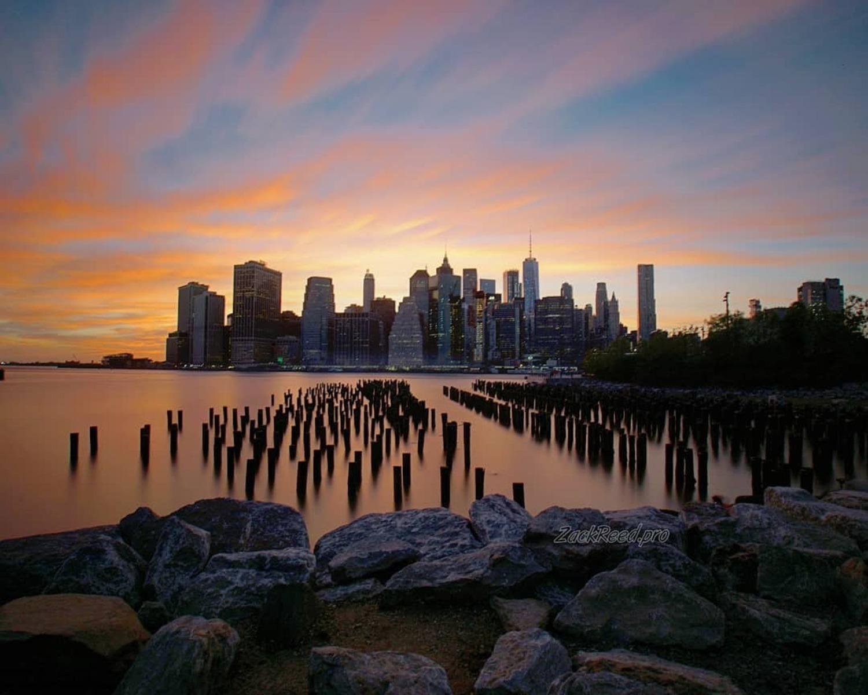 Sunset over Lower Manhattan from Brooklyn Bridge Park