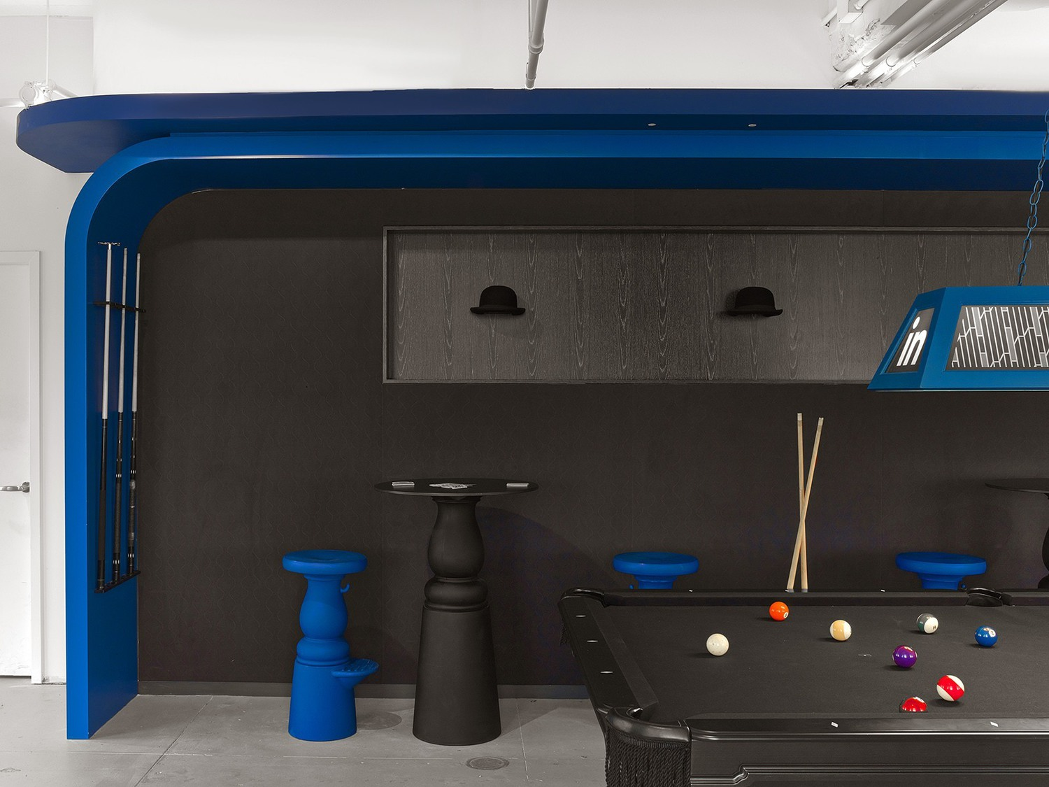 A Pool Room Decorated with Bowler Hats