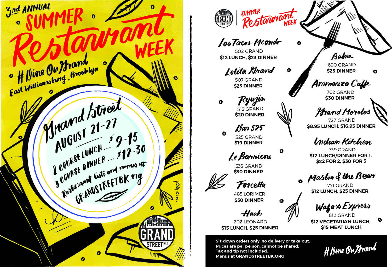 Williamsburg's Grand Street Restaurant Week, August 21th-27th, 2017.