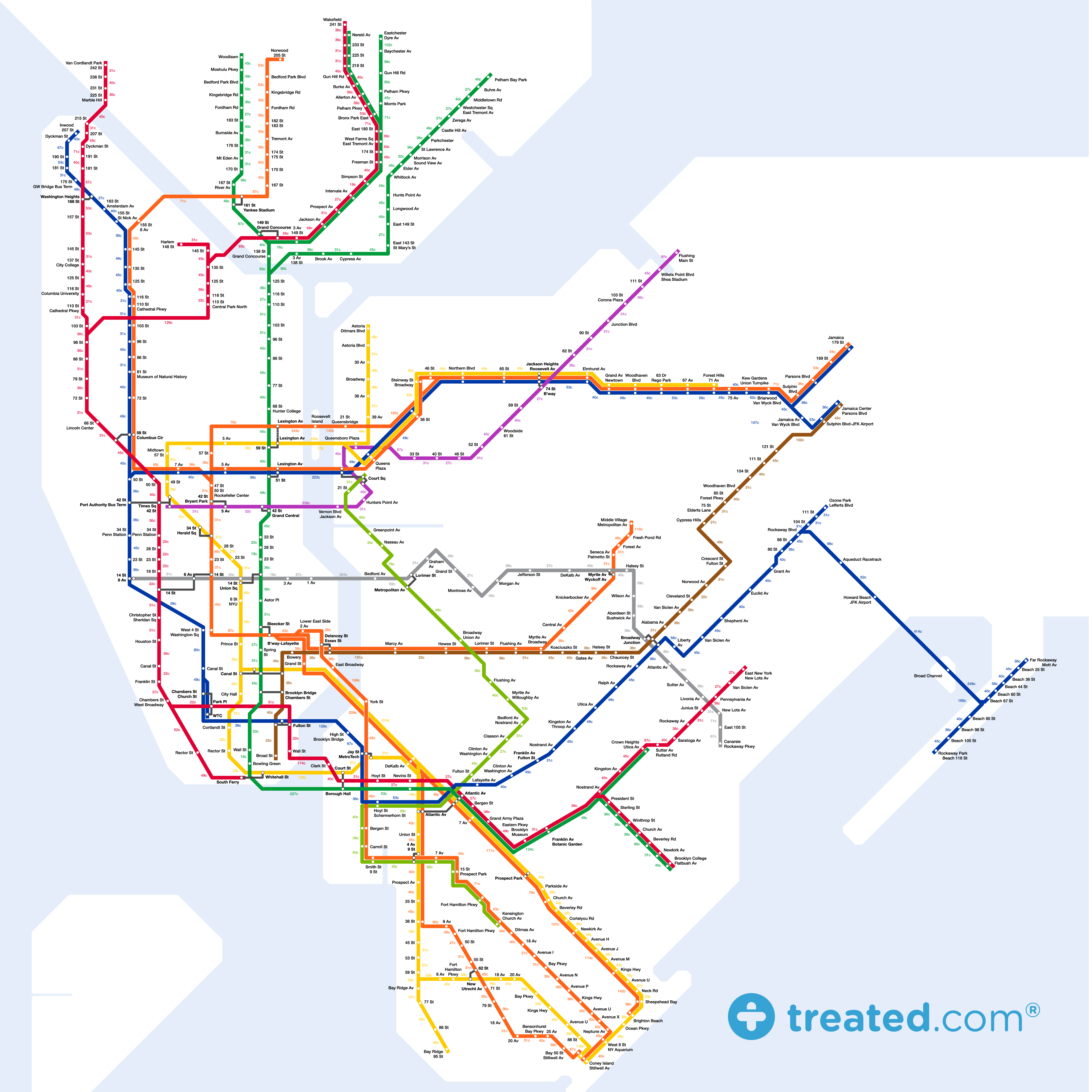Cool Subway Map Shows How Many Calories You Would Burn By Walking ...