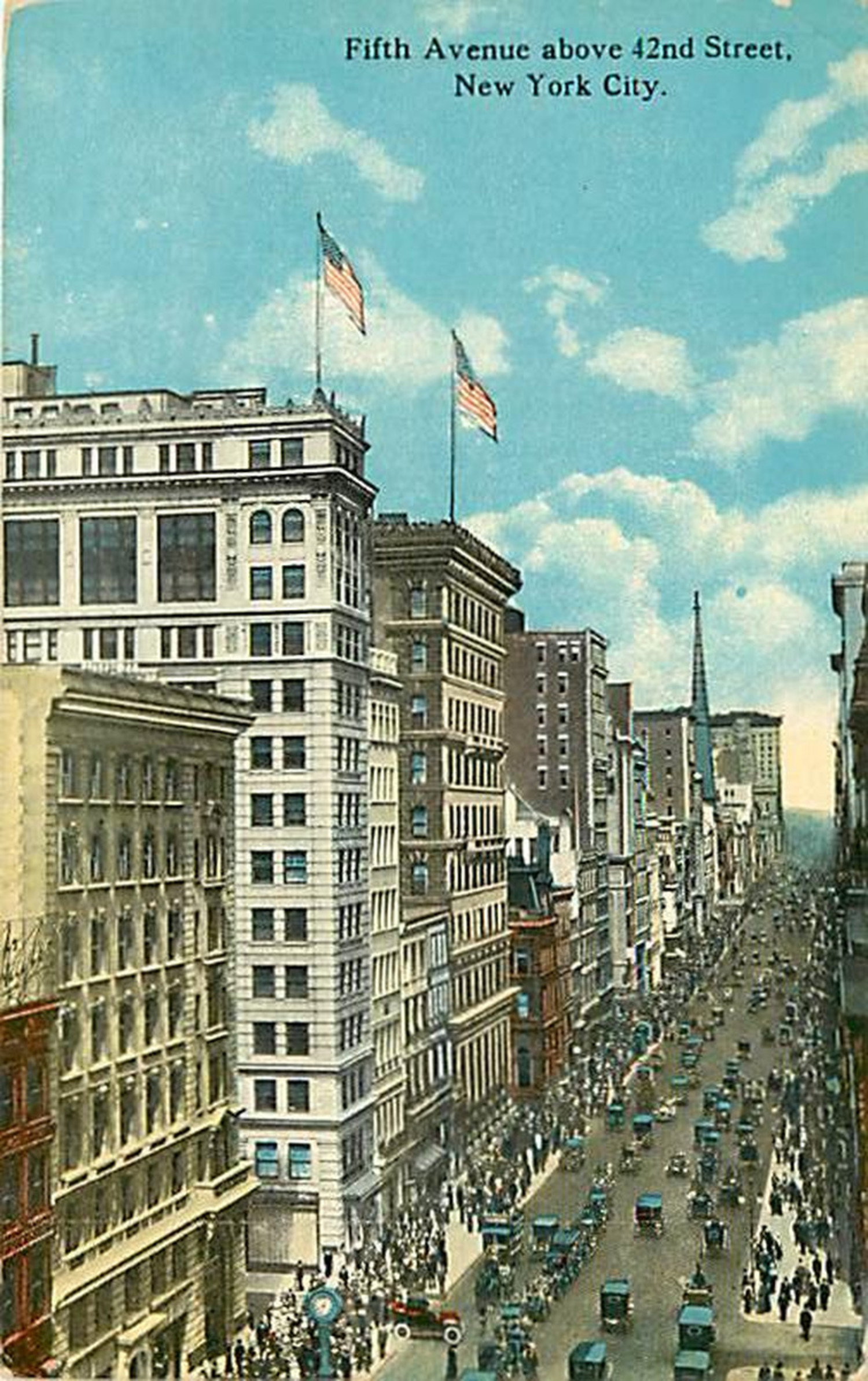 In a similar view also from around 1927, at a higher vantage point, we are looking up Fifth Avenue north from 42nd Street. Vehicular traffic flows both ways as crowds throng the sidewalks. On the west side of the street can be seen the steeple of St. Thomas Episcopal Church. Beyond the church, the last building visible before the southern tip of Central Park is the Plaza Hotel.