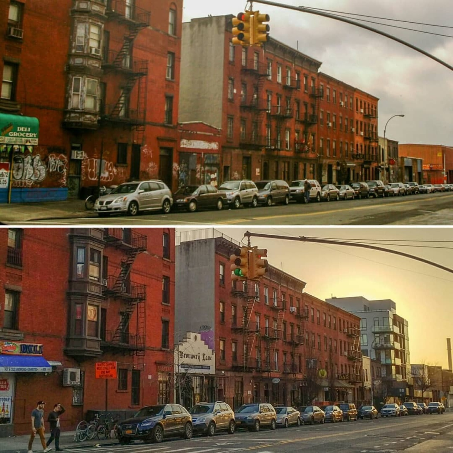 Greenpoint Avenue 2005 / 2018  Between Franklin Street and West Street.  #greenpoint #brooklyn #nyc #graffiti #newyorkcity #bars #businesses #deli #Bodega #grocery #greenpointave #bar #beer #brickbuilding #buildings #nostalgia #thenandnow #city #neighborhood #BKLYN #718 #sunset #missingthepoint  #architechure #streetphotography #brouwerijlane