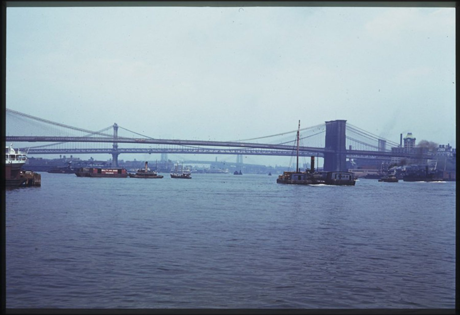 Here, a view of the East River and the majestic Brooklyn Bridge.
