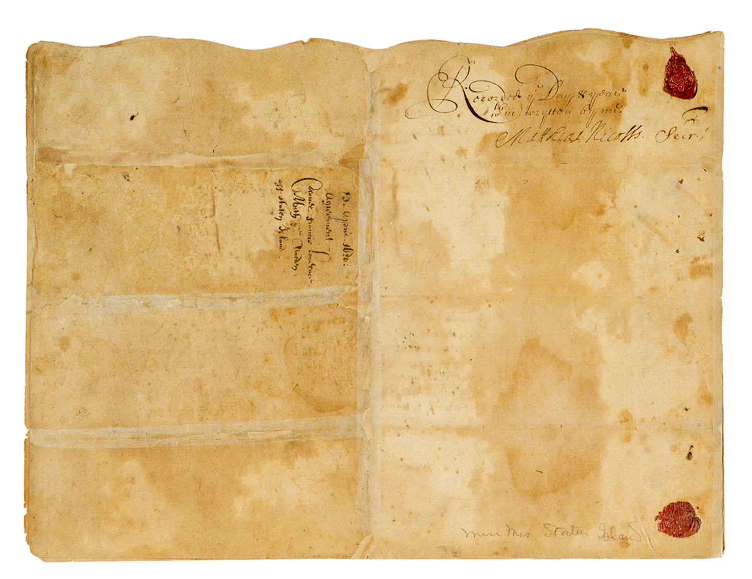Deed for the purchase of Staten Island from the Munsees on behalf of the Duke of York. Manuscript signed by Gov. Francis Lovelace, on April 13, 1670.