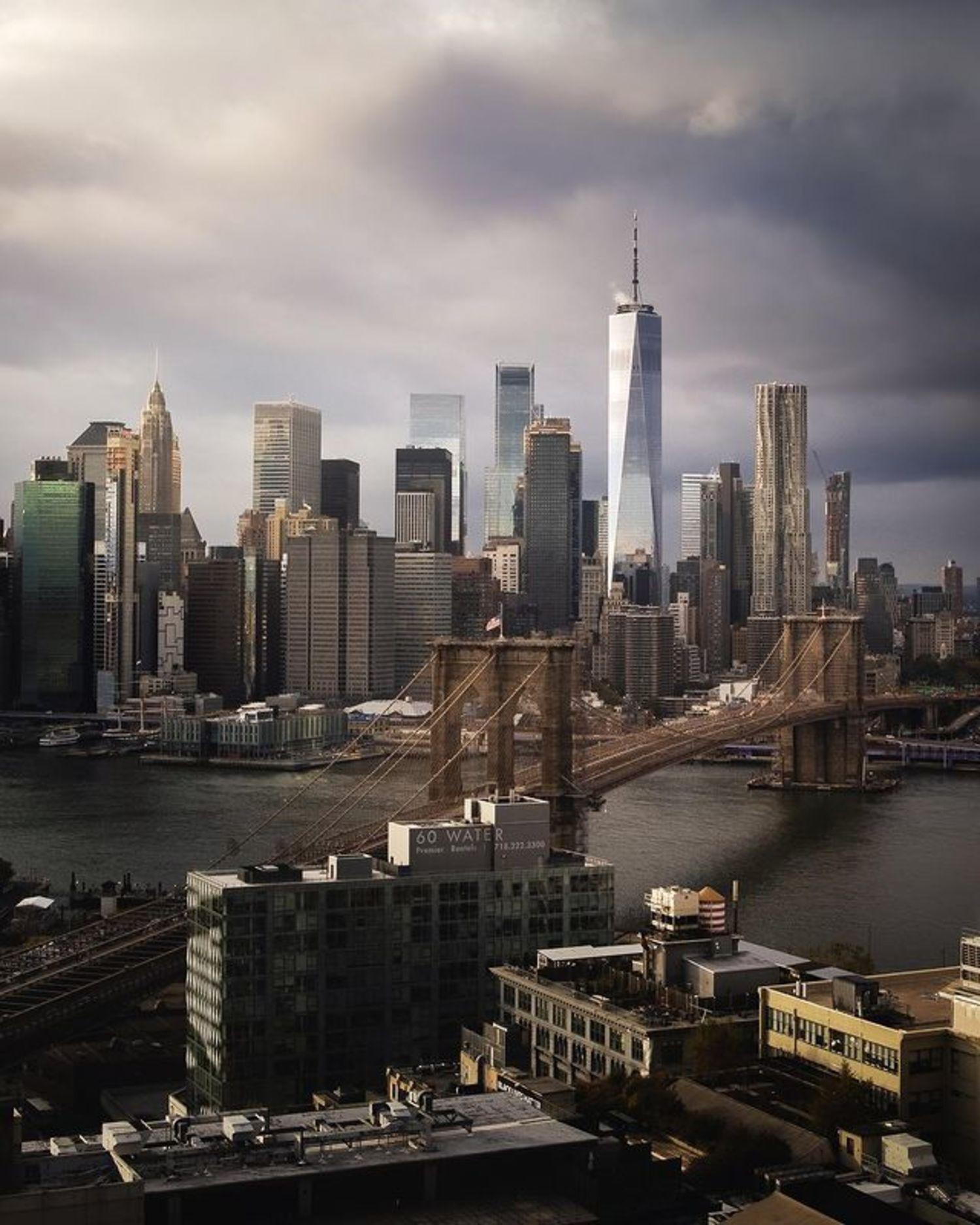 Brooklyn Bridge, East River, and Lower Manhattan from DUMBO, Brooklyn