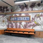 "Blooms are busting out all over in @nancy_blum's ""Roaming Underfoot"" (2019) at the newly re-opened historic 28th Street (6) station. The seven flowering plants depicted in the glass mosaic artwork (fabricated by #MiottoMosaics) are from nearby @madsqparknyc Conservancy's perennial collection, including Red Buds, Magnolias, Hellebores, Witch Hazel, Daffodils, Hydrangea and Camellia. Each are suited to the changing climate conditions of the city. Similar to a glorious #garden, the larger than life underground #flowers create a delightful space in every season. 