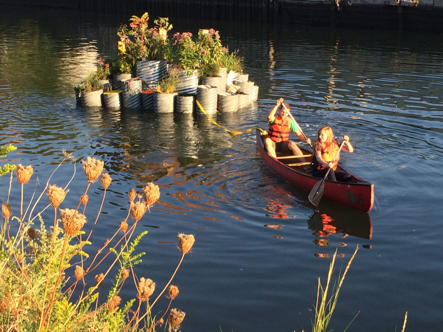A plant-filled, pollution-combating, floating island is now part of the Gowanus.