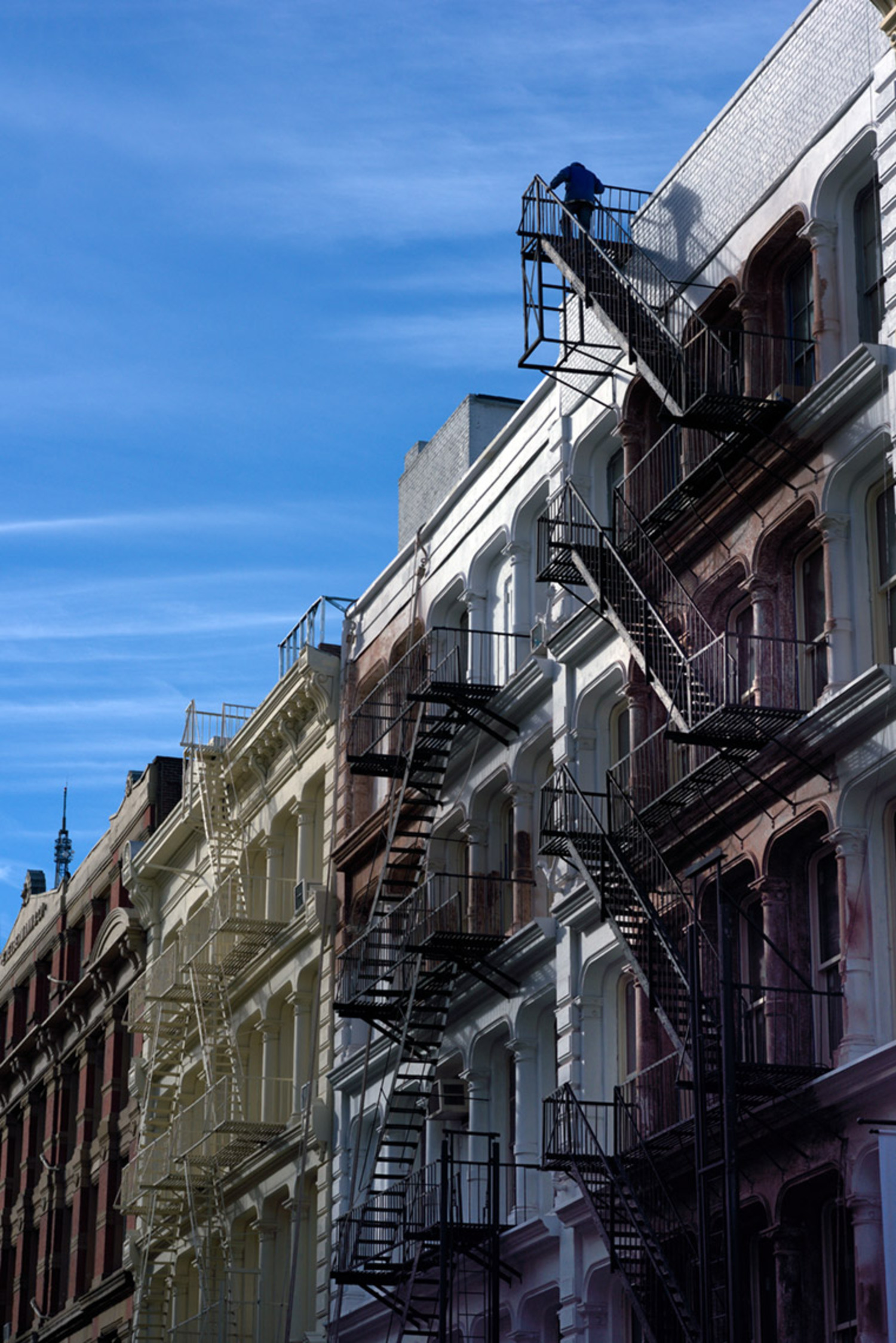 Soho Fire Escapes and Man at Top