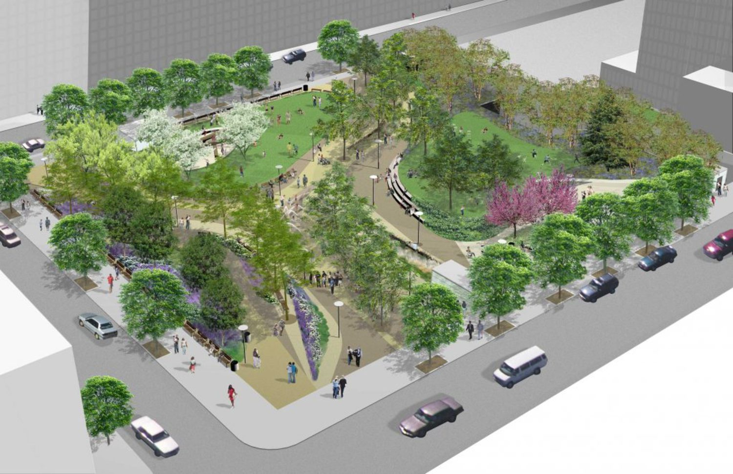 A rendering of Willoughby Square, the park that will replace 217 Duffield Street.