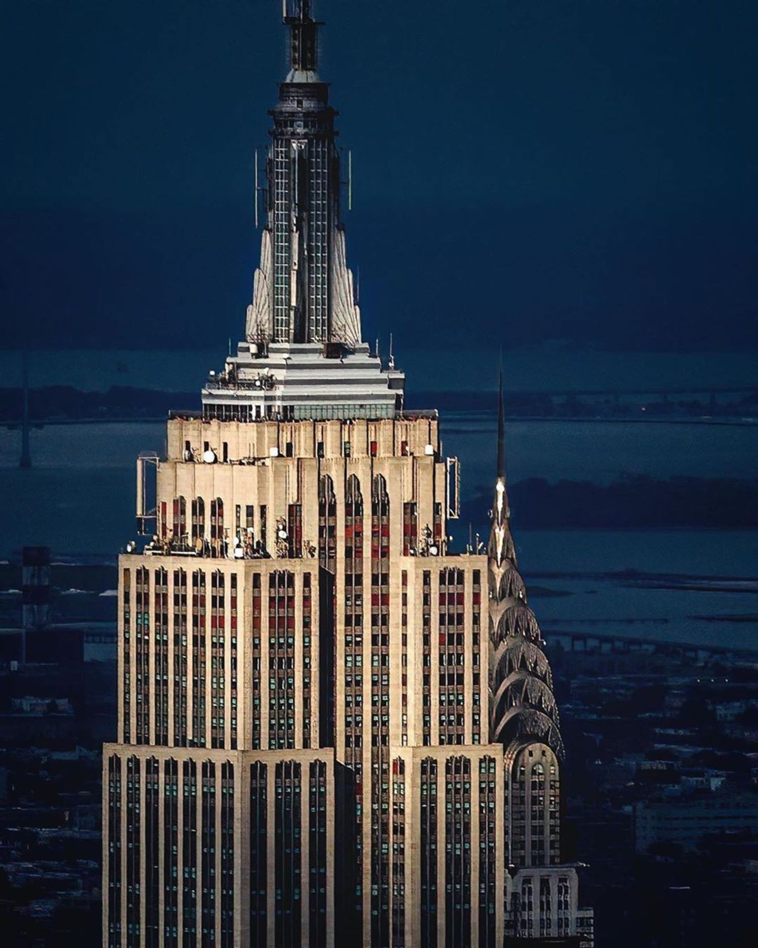 Empire State and Chrysler Buildings, Manhattan.