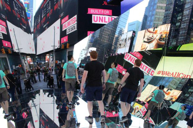 "Pedestrians walk through the ""kaleidoscope."""