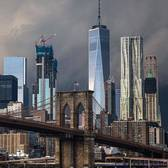 Brooklyn Bridge and Lower Manhattan Skyline, New York, New York