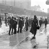 On the streets in a New York blizzard. Herald Square, 1899