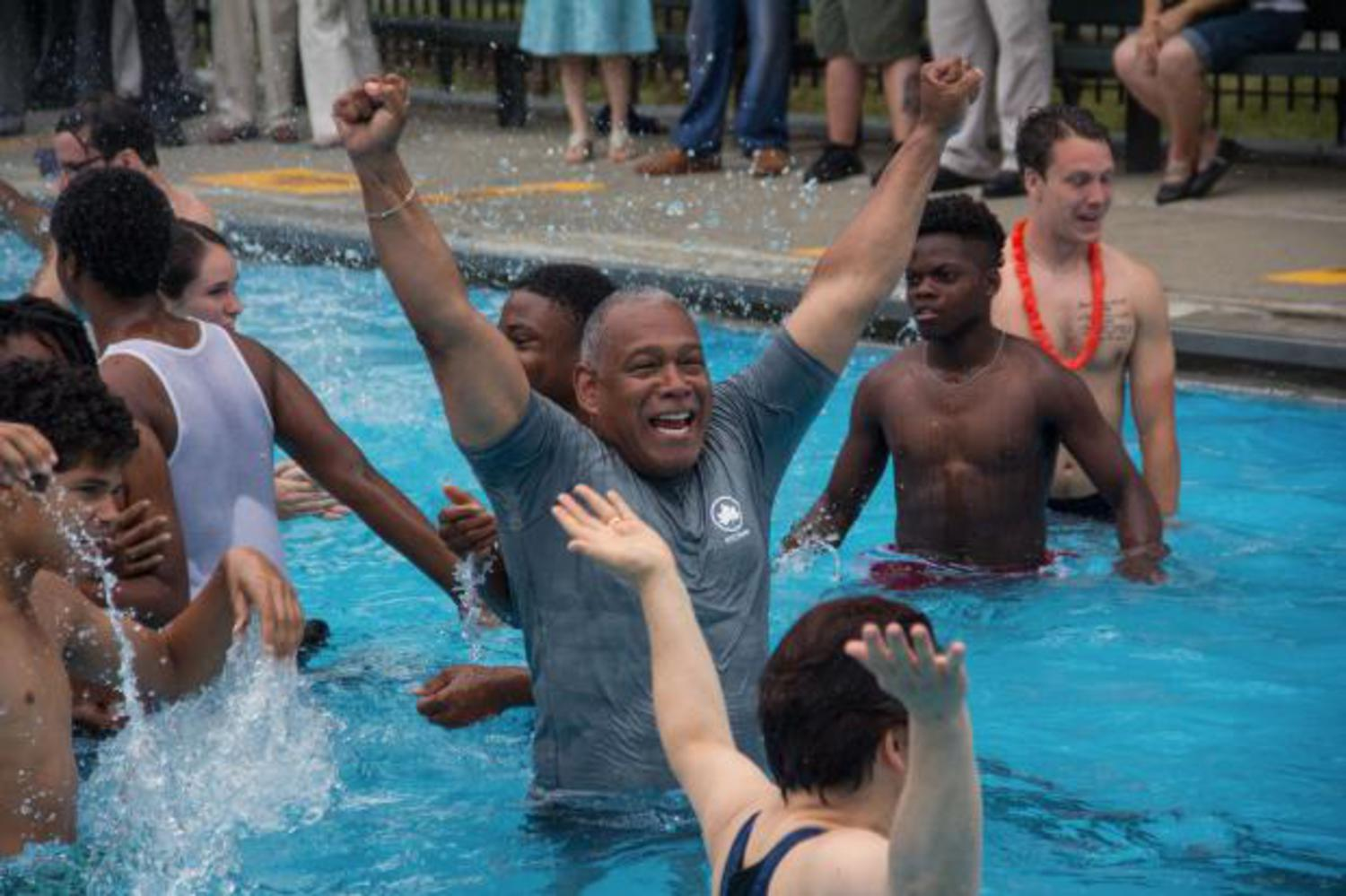 Parks Commissioner Mitchell Silver officially kicked off the opening of the city's outdoor public pools on Tuesday, June 28, 2016, by taking a dip at Faber Pool.