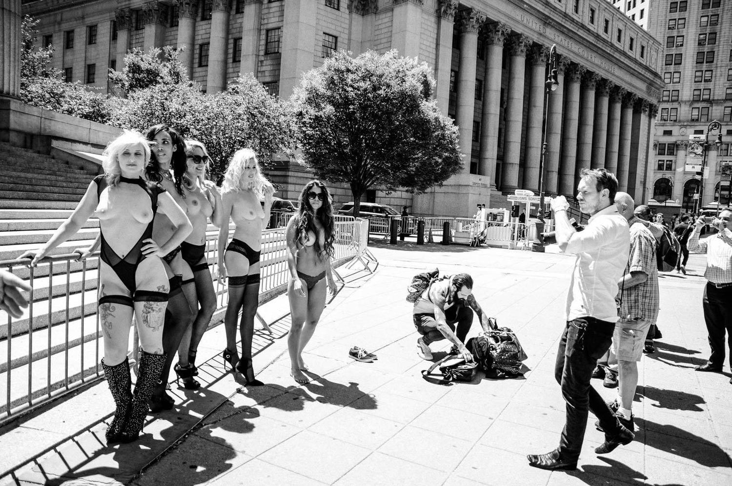 Banned ESB Photographer Protests By Shooting Topless Models at New York Supreme Court [NSFW]