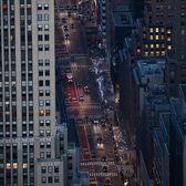 Nightfall down Fifth Avenue, Midtown, Manhattan