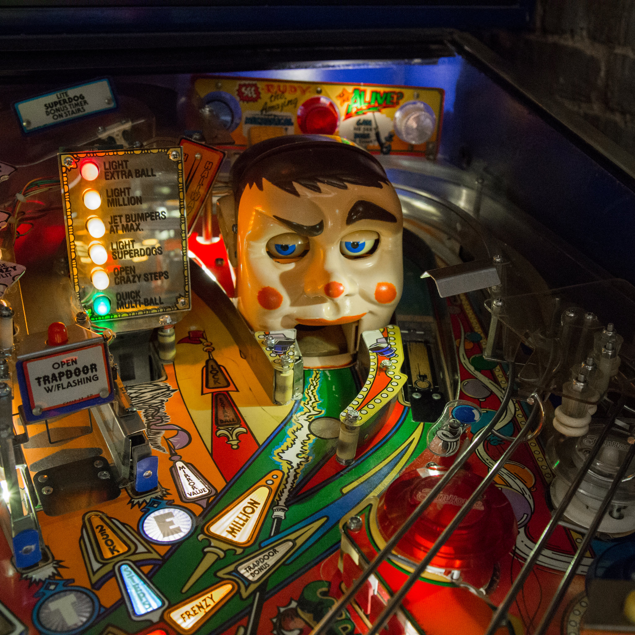 A detail of the Fun House pinball machine  | Viewing NYC