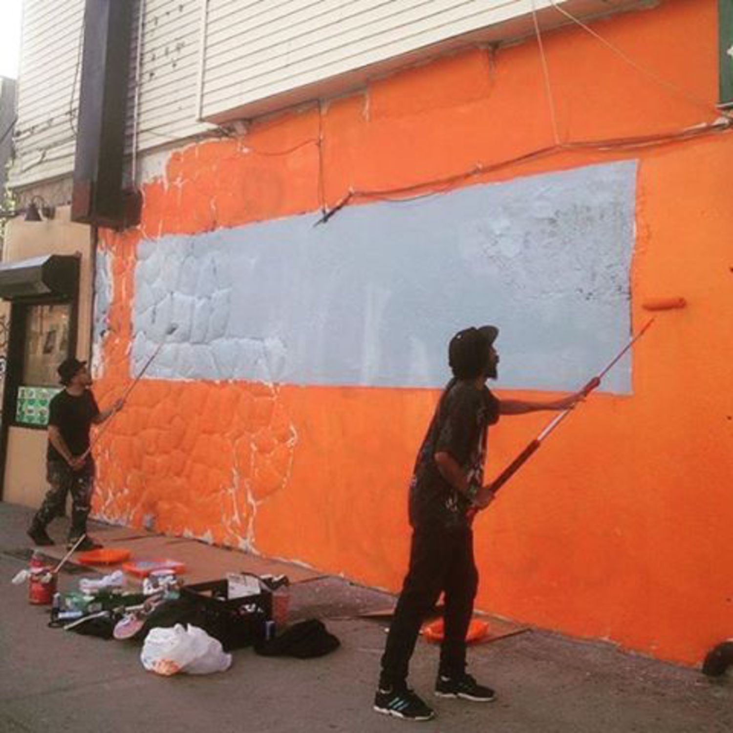 Me and the homie @benrobey doing some prep work for this commish in Bushwick