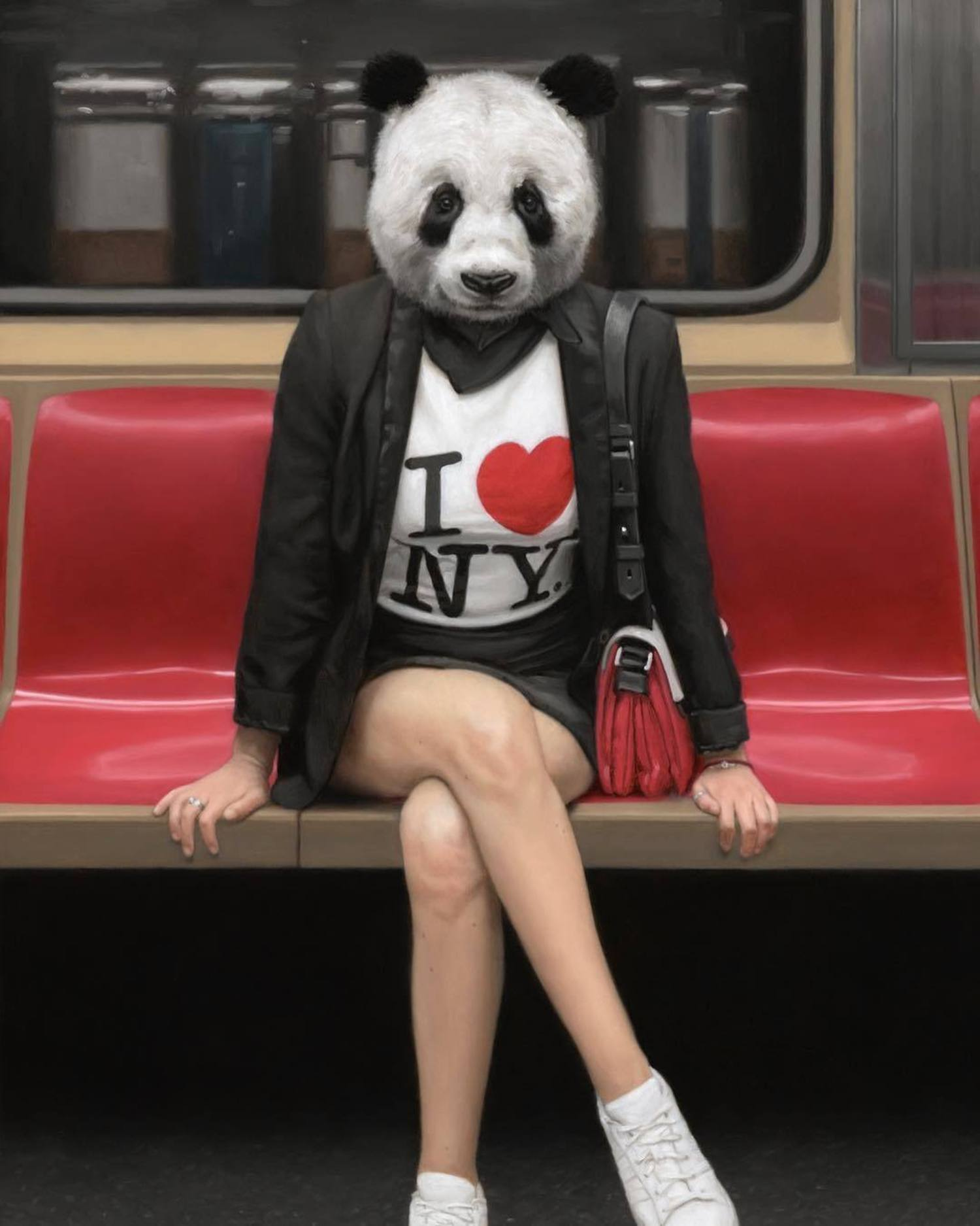 Here's the last oil painting from my recent show in New York. I'm so excited that my friend who modeled for this panda is pregnant! Look for some mother-daughter panda paintings coming up in 2018! 🐼