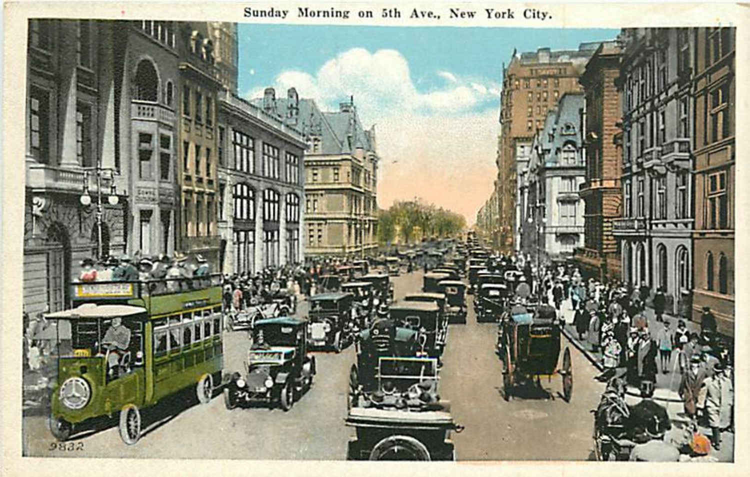 "From this 1920 postcard we see Fifth Avenue looking north from 56th Street on a busy Sunday morning. With the exception of one horse drawn carriage going north in the foreground all the other vehicular traffic is motorized. The large private house on the left just before Central Park is the monumental home of Cornelius Vanderbilt II, taking up the block between 57th and 58th Streets. This ""chateau"" was demolished in 1926 and luxury department store, Bergdorf Goodman was built on the site."