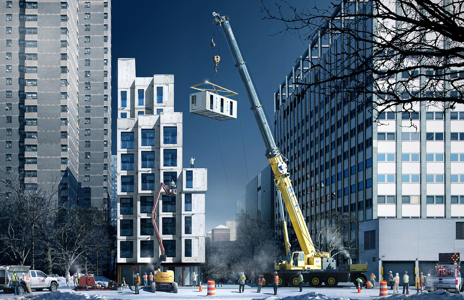 A rendering shows how the apartments will be stacked up.