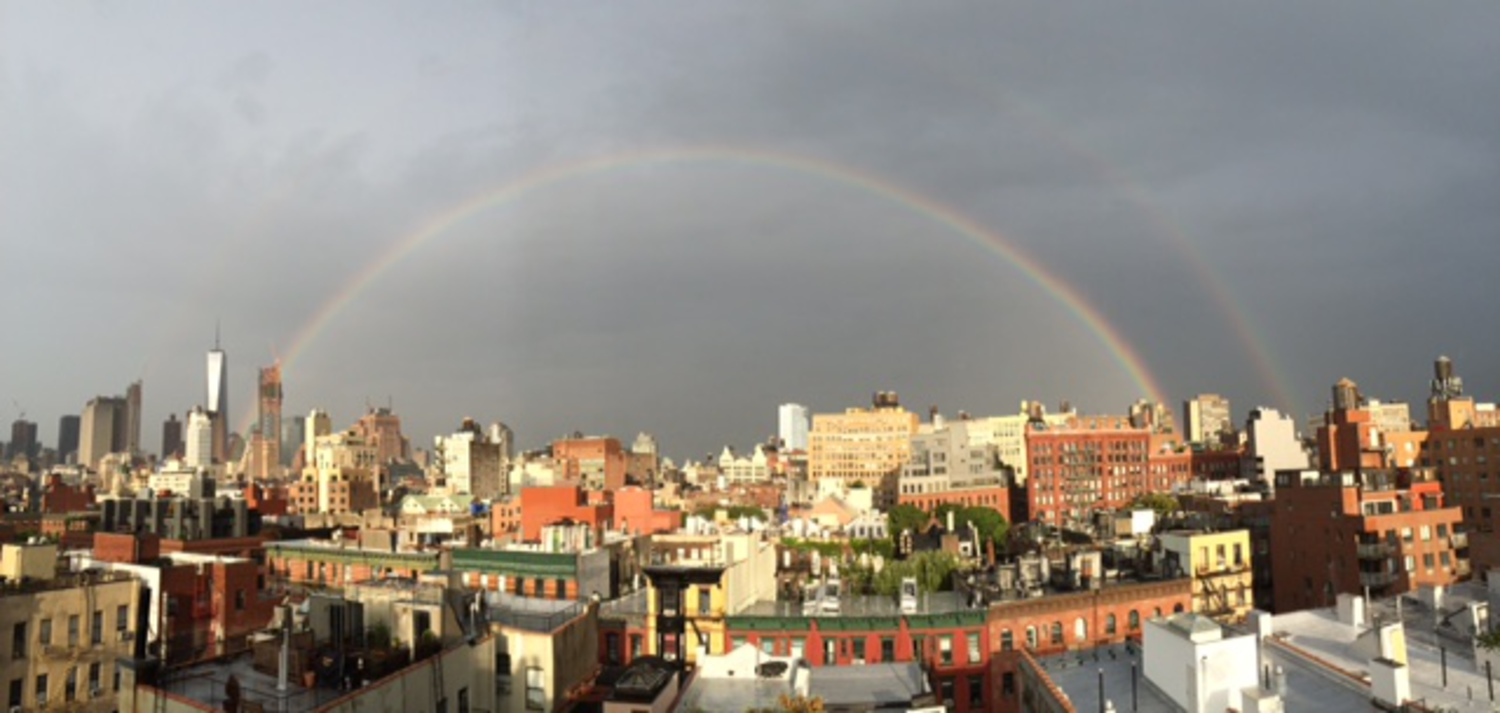 Double Rainbows Form High Above Downtown this Morning