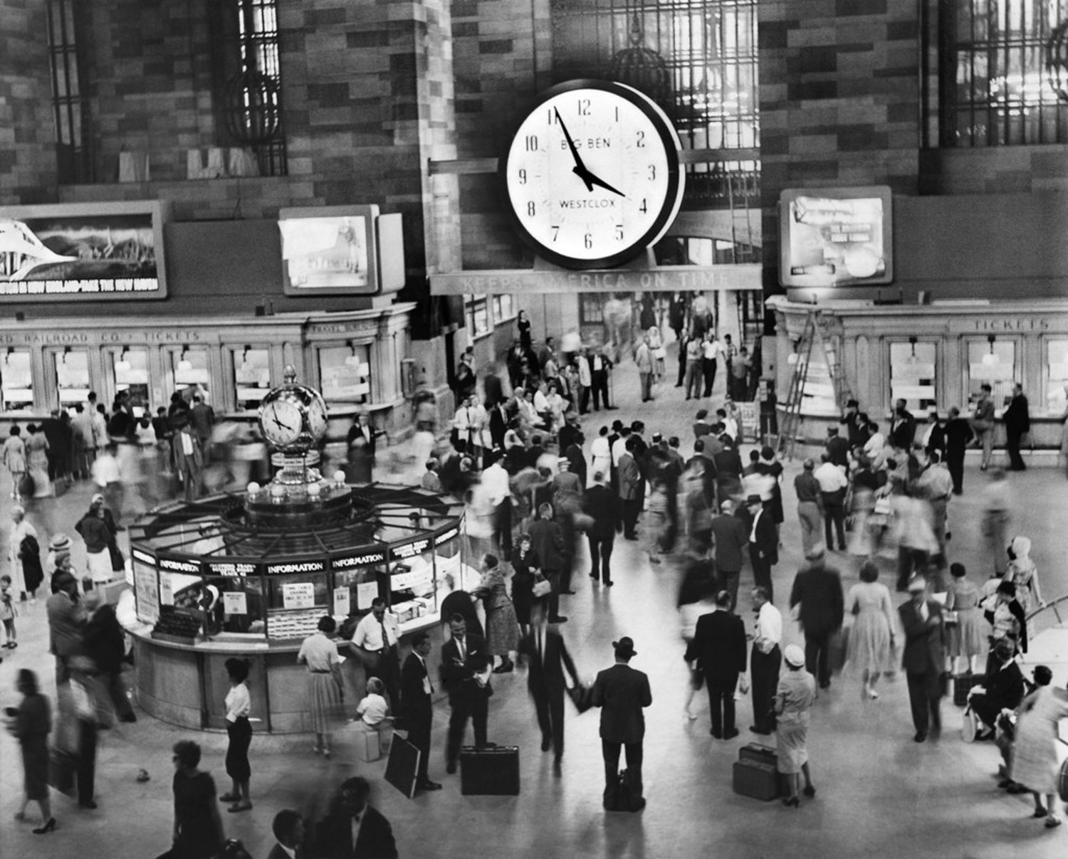 Aug. 7, 1959: A 15-foot clock hung over the bustle of Grand Central Terminal, sporting an advertisement for its maker, Westclox (appearing on Page 19 of this issue). The clock would bear the logos of several companies through the years; eventually, it was removed.