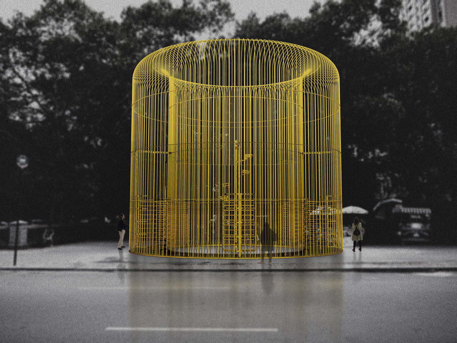 "A rendering of one piece in Ai Weiwei's multipart Public Art Fund project ""Good Fences Make Good Neighbors."""