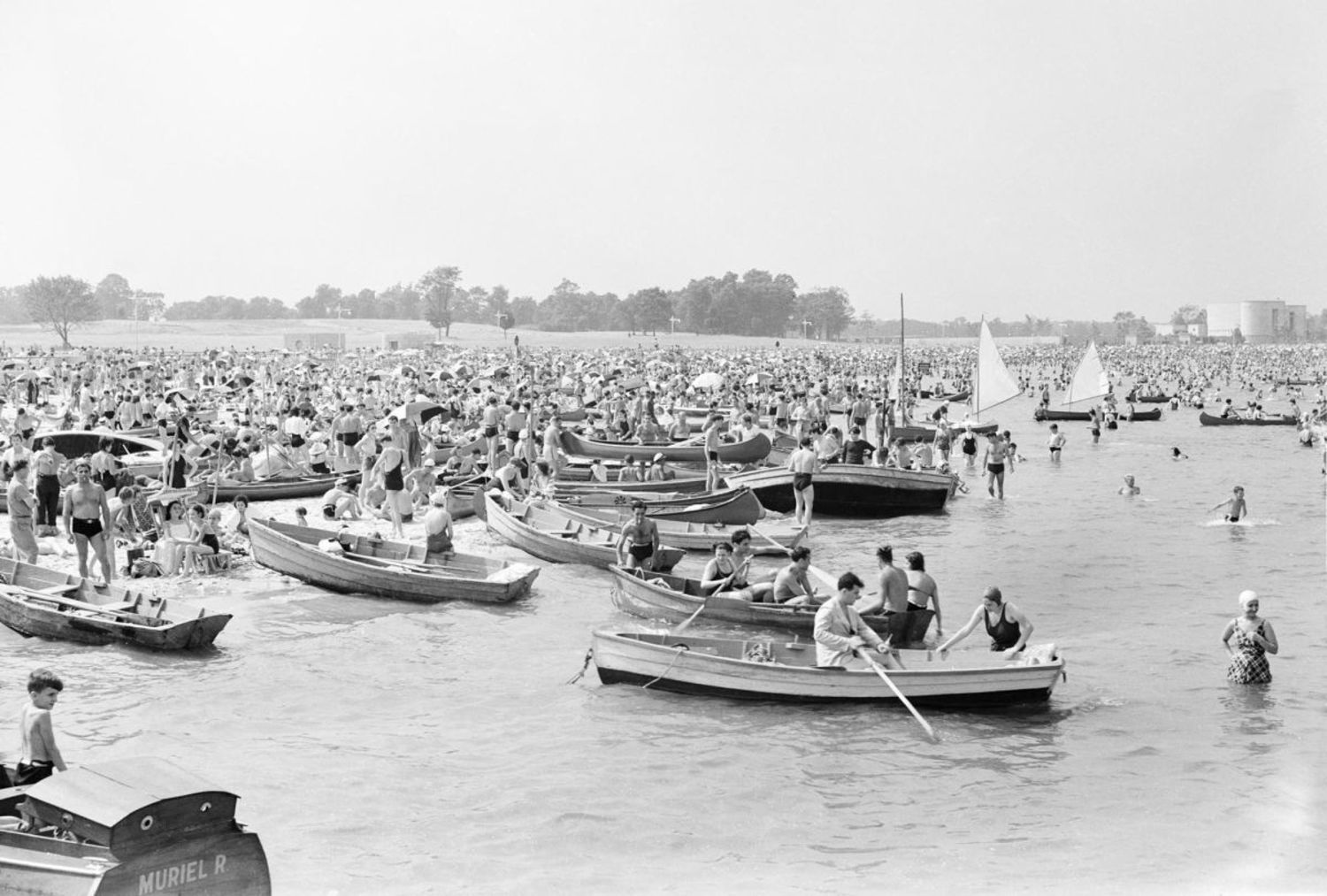 Row boats at Orchard Beach, Bronx, 1938
