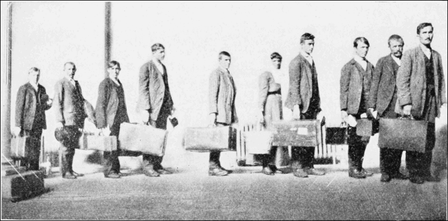 Lined Up Waiting for Medical Examination (1912)