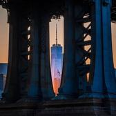 One World Trade Center through Manhattan Bridge.