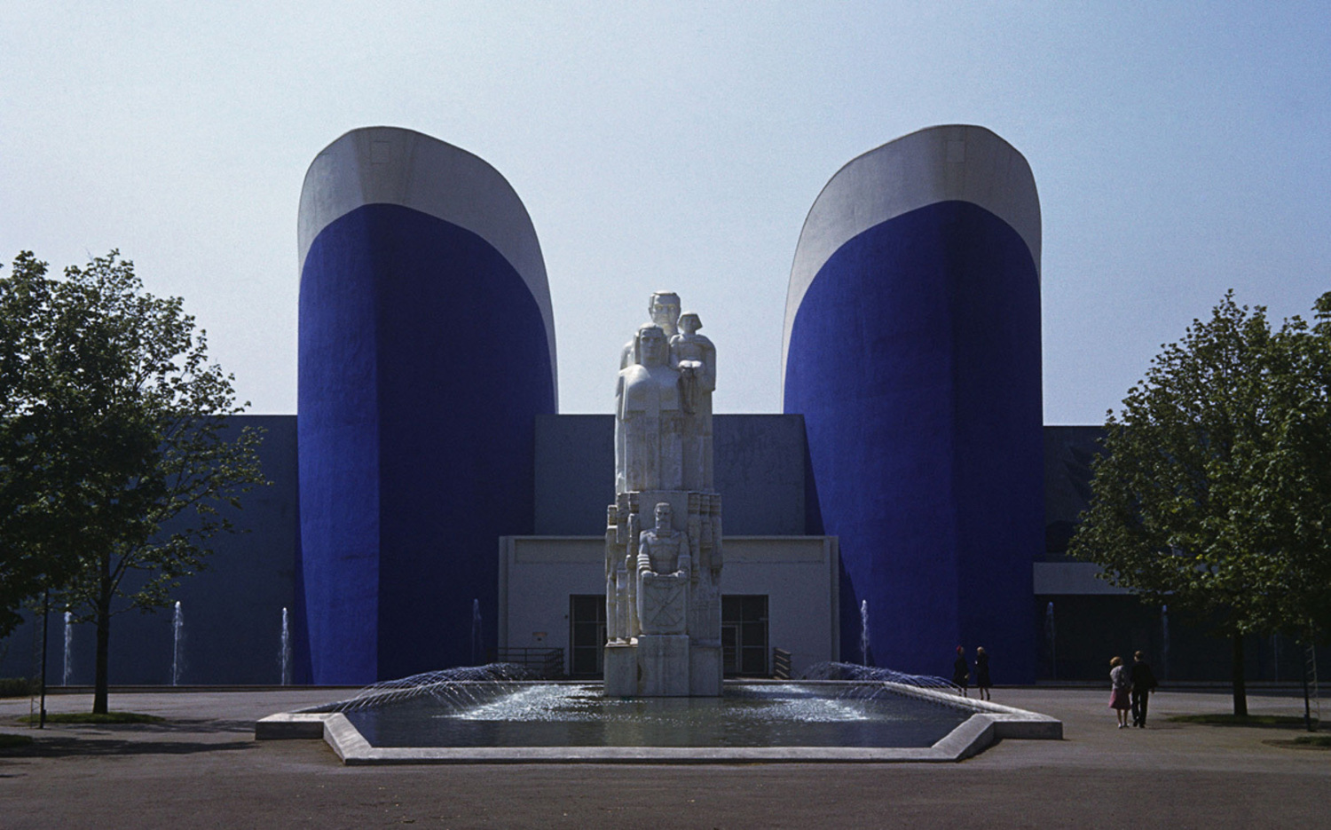 A statue decorates the entrance to the Maritime Transport and Commerce Pavilion.