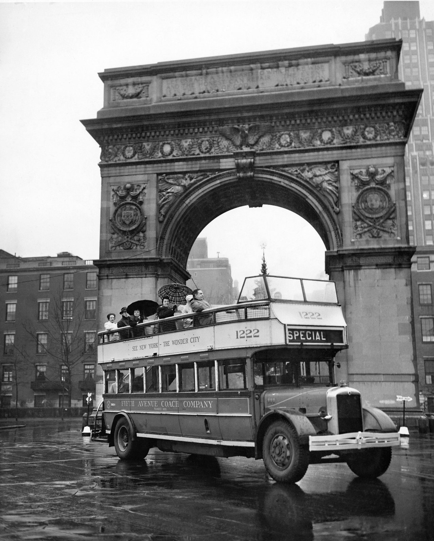 "Dec. 29, 1946: ""It's a lark!"" exclaimed a passenger on one of the last trips of one of New York City's last five double-decker, open-top buses. ""It's a shame they're taking them away. During the summer months they'd be wonderful,"" the woman added. ""The Fifth Avenue Coach Company had ordered the use of the old open double-deckers discontinued as of 1 p.m.,"" reported The Times, which also noted that the buses had been running there since 1907 and that ""some of the old machines would be sent to Argentina and Cuba,"" and others would be scrapped for parts."