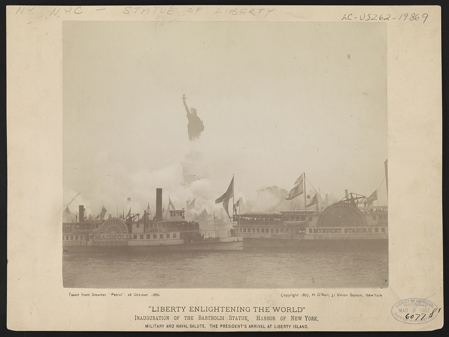 Liberty enlightening the world--Inauguration of the Bartholdi Statue, Harbor of New York--Military and naval salute, the President's arrival at Liberty Island, ca. 1886.