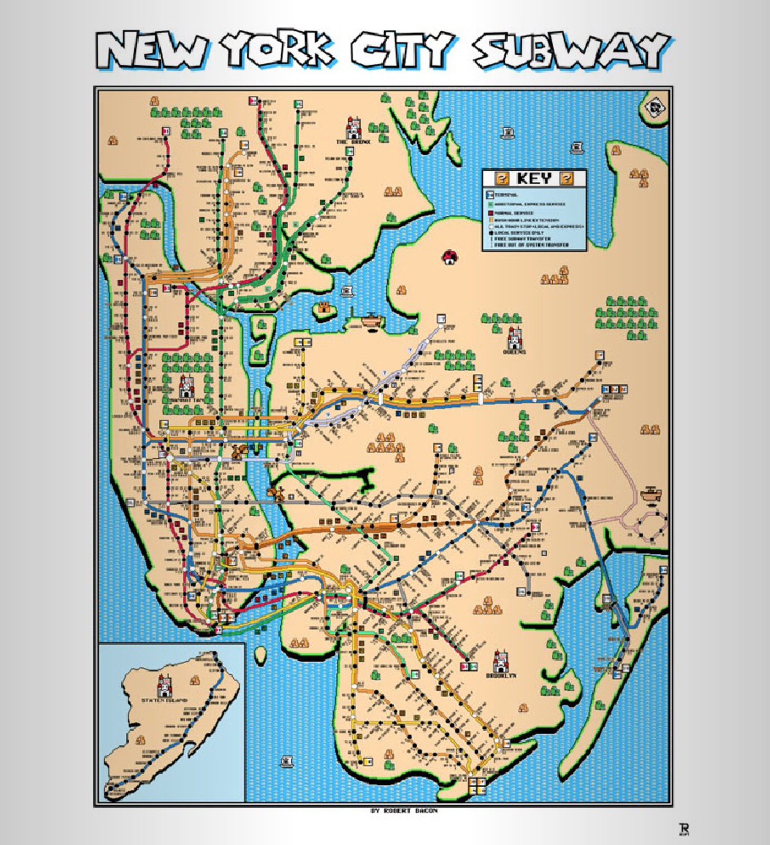 New york subway map designed ala super mario brothers 3 viewing nyc gumiabroncs Gallery