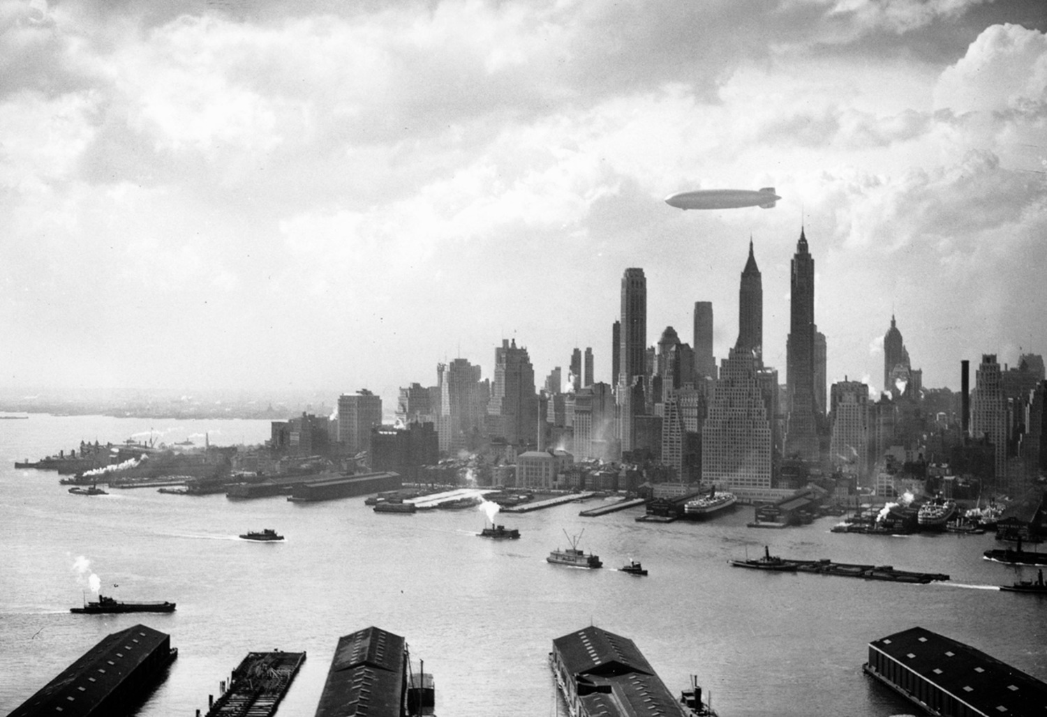 The Hindenburg floats over Manhattan Island in New York City on May 6, 1937, just hours from disaster in nearby New Jersey.