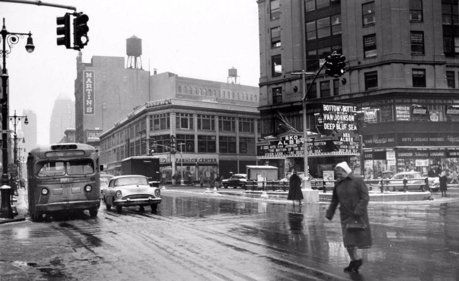 Fulton Street & Bond Street, Brooklyn, with a view of the RKO Albee Theater, 1956