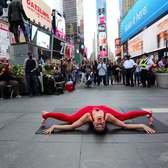 Nina Burri performs Contortion Act Imagine on Times Square in NYC