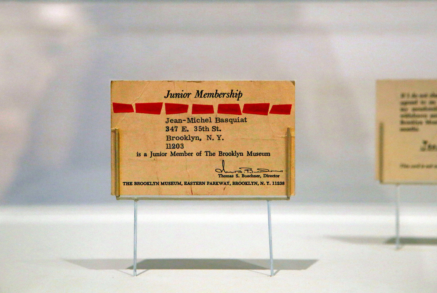 Basquiat's membership card at the museum.