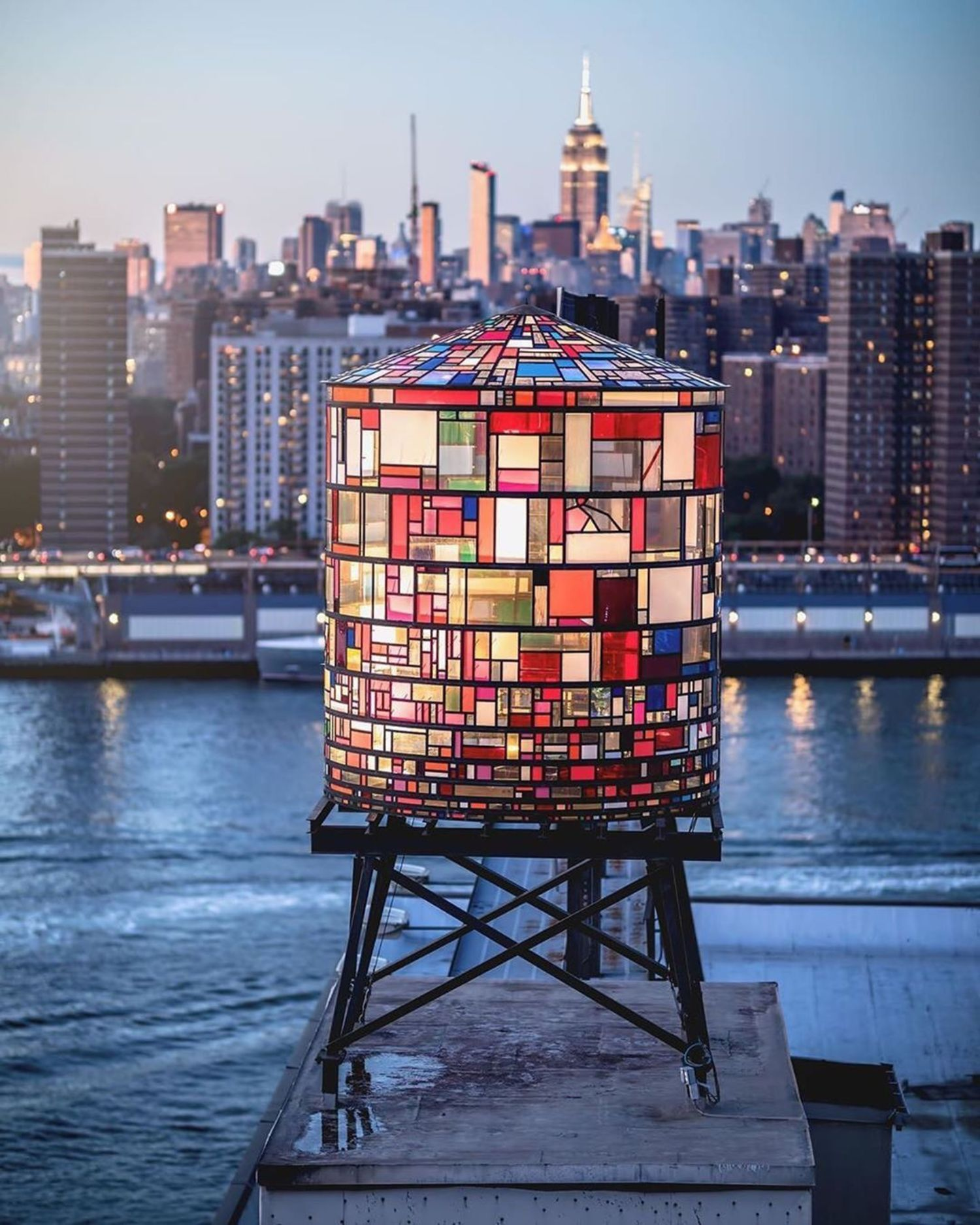 Tom Fruin's Dumbo Watertower, Brooklyn.