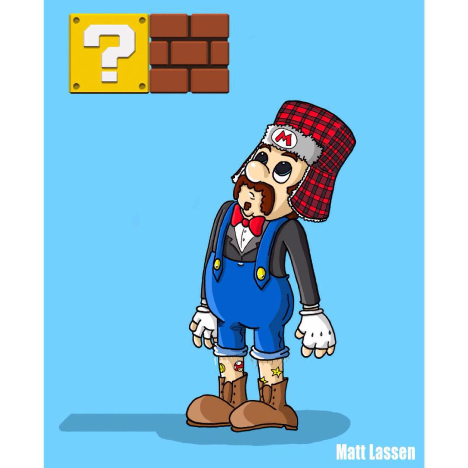 Hipster Super Mario (No. 5 in a series) #cartoon #nintendo #supermario #hipster #art #illustration #gaming #gamer #videogames #tattoos